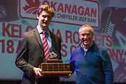 KELOWNA, CANADA - MARCH 18:  Scholastic Player Award Sponsored by the Team Doctors.  The award was presented by Dr. Mike Shepherd to Wil Kushniryk at the Kelowna Rockets Awards Ceremony on March 18, 2018 at The Kelowna Community Theatre  in Kelowna, British Columbia, Canada.  (Photo By Cindy Rogers/Nyasa Photography,  *** Local Caption ***