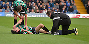 Rochdale Midfielder, Peter Vincenti gets mediacl attention after taking a knock during the Sky Bet League 1 match between Bury and Rochdale at Gigg Lane, Bury, England on 17 October 2015. Photo by Mark Pollitt.