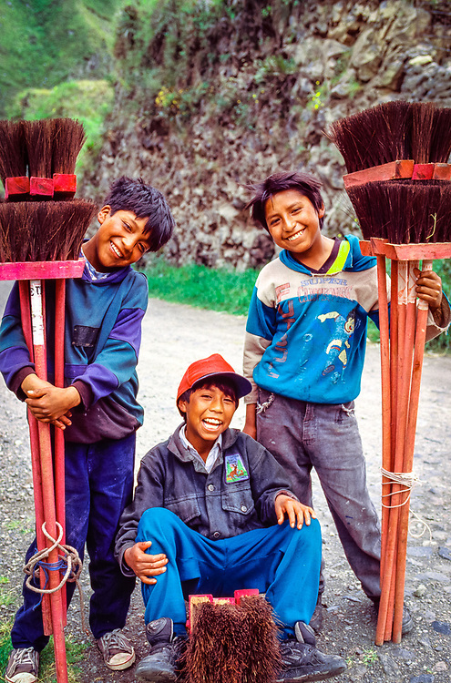 Broom salesmen, Banos, Ecuador, SA