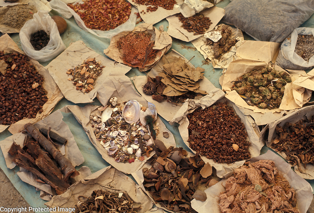 Folk medicines on display for sale at market in Tlaxiaco, Oaxaca State, Mexico.