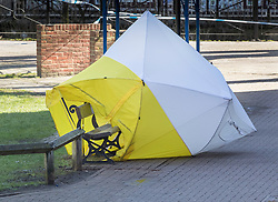 © Licensed to London News Pictures. 08/03/2018. Salisbury, UK. Salisbury. A police forensics tent protecting the bench where Former Russian spy Sergei Skripal was taken ill has blown over revealing the area. Former Russian spy Sergei Skripal, his daughter Yulia and a policeman are still critically ill after being poisoned with nerve agent. The couple where found unconscious on bench in Salisbury shopping centre. Authorities continue to investigate. Photo credit: Peter Macdiarmid/LNP