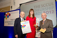"In the SCCUL Entrepreneurship AWARDS 2012  Category Award ""Consumer Services"" announced by Tom Joyce.Chief Executive Galway University Foundation. and .presented by Paddy O'Donnell.Chairman St. Columba's Credit Union Ltd. to winner of the Gallery Cafe's Sarah Harty .PIcture:Andrew Downes"