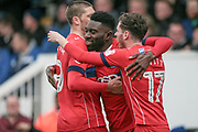 Jabo Ibehre (Carlisle United) celebrates scoring the opening goal of the game. 1-0 to the visitors during the EFL Sky Bet League 2 match between Hartlepool United and Carlisle United at Victoria Park, Hartlepool, England on 14 April 2017. Photo by Mark P Doherty.