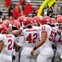 Sep 26, 2009; College Park, MD, USA; Rutgers gathers together before Rutgers' 34-13 victory over Maryland in NCAA college football at Byrd Stadium.
