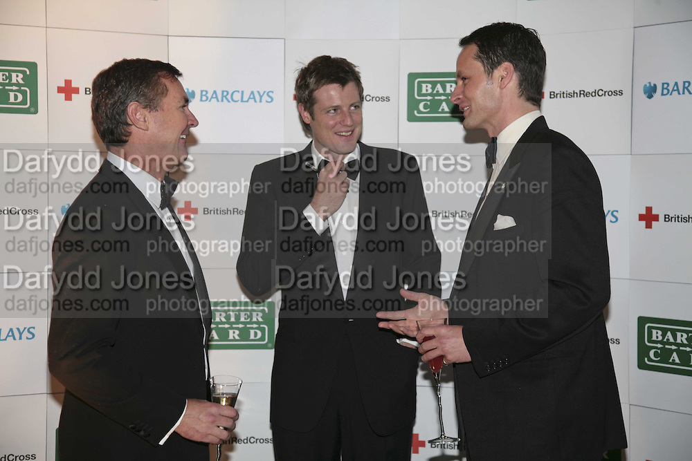 Wayne Sharpe, Zac Goldsmith and James Johnstone, British Red Cross Ball, Waterloo. London. 16 November 2006.  TIME USE ONLY - DO NOT ARCHIVE  © Copyright Photograph by Dafydd Jones 66 Stockwell Park Rd. London SW9 0DA Tel 020 7733 0108 www.dafjones.com