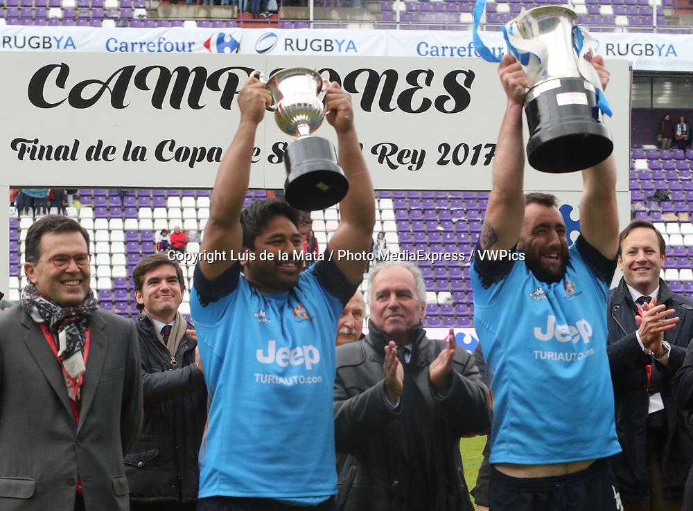 VALLADOLID, SPAIN. APRIL 30th, 2017 - Rugby Copa del Rey Final Match. Silverstorm El Salvador vs Unio Esportiva Santboiana at Nuevo Jose Zorrilla Stadium. on 30 april  in Valladolid. Photo by Luis de la Mata / PHOTO MEDIA EXPRESS