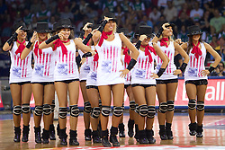 Russian cheerleaders perform during to the Preliminary Round - Group B basketball match between National teams of USA and Croatia match at 2010 FIBA World Championships on August 28, 2010 at Abdi Ipekci Arena in Istanbul, Turkey.  (Photo by Vid Ponikvar / Sportida)