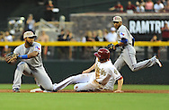 PHOENIX, AZ - MAY 27:  A.J. Pollock #11 of the Arizona Diamondbacks safely steals second base against infielder Elvis Andrus #1 of the Texas Rangers in the second inning of an interleagure game at Chase Field on May 27, 2013 in Phoenix, Arizona.  (Photo by Jennifer Stewart/Getty Images) *** Local Caption *** A.J. Pollock; Elvis Andrus