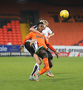 Dundee's Kyle Clark gets to grips with United's Justin Johnson - Dundee United v Dundee under19s - Little Big Shot Scottish Youth Cup at Tannadice<br /> <br />  - &copy; David Young - www.davidyoungphoto.co.uk - email: davidyoungphoto@gmail.com