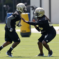 June 6, 2012; Metairie, LA, USA; New Orleans Saints cornerbacks Card Parks (31) and Elbert Mack (44) during a minicamp session at the team's practice facility. Mandatory Credit: Derick E. Hingle-US PRESSWIRE
