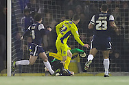 Picture by David Horn/Focus Images Ltd +44 7545 970036.11/12/2012.Zac Thompson of Bury scores during the The FA Cup match at Roots Hall, Southend.