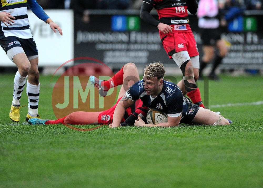 Bristol Rugby Number 8 Mitch Eadie breaks away to score a try  - Mandatory byline: Joe Meredith/JMP - 05/12/2015 - RUGBY - Billesley Common - Birmingham, England - Moseley v Bristol Rugby - Greene King IPA Championship