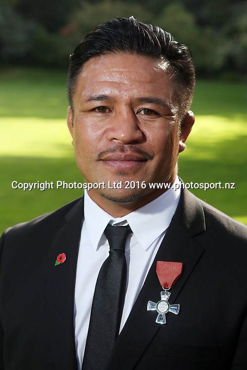 Keven Mealamu receives the insignia of a member of the New Zealand order of merit for services to rugby, Government House Investitures, Auckland, New Zealand. 26 April 2016. Copyright Image: William Booth / www.photosport.nz