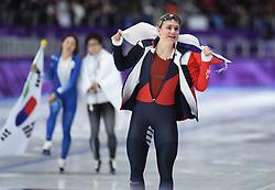 PYEONGCHANG, Feb. 18, 2018  Karolina Erbanova of the Czech Republic celebrates after finishing ladies' 500m final of speed skating at the 2018 PyeongChang Winter Olympic Games at Gangneung Oval, Gangneung, South Korea, Feb. 18, 2018. Karolina Erbanova claimed third place in a time of 37.34. (Credit Image: © Wang Song/Xinhua via ZUMA Wire)