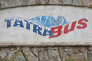 A homemade Polish sign for a Tatra National Park bus service, on 16th September 2019, in Zakopane, Malopolska, Poland.