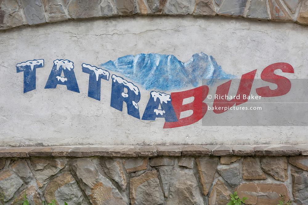 A homemade Polish sign for a Tatra National Park bus service, on 16th September 2019, in Zakopane, Malopolska, Poland.