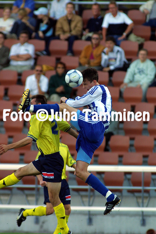 09.08.2001 Helsinki, Finland. UEFA Cup, Qualifying Round, 1st leg. HJK Helsinki v FK Ventspils (Latvia). Toni Kallio (HJK)..©JUHA TAMMINEN