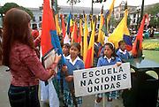 ECUADOR, QUITO, EDUCATION Plaza de Independencia; primary school students gathering for ceremony