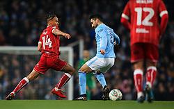 Bobby Reid of Bristol City takes on Ilkay Gundogan of Manchester City - Mandatory by-line: Matt McNulty/JMP - 09/01/2018 - FOOTBALL - Etihad Stadium - Manchester, England - Manchester City v Bristol City - Carabao Cup Semi-Final First Leg
