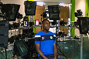 Forest Green Rovers Dale Bennett(2) has his face scanned for FIFA18 during the Forest Green Rovers Photocall at the New Lawn, Forest Green, United Kingdom on 31 July 2017. Photo by Shane Healey.
