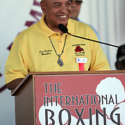 Referee Joe Cortez speaks to fans during the 23rd Annual induction weekend opening ceremony at the International Boxing Hall of Fame on Thursday, June 7, 2012 in Canastota, NY. (AP Photo/Alex Menendez)