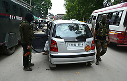 July 26, 2018 - Srinagar, Jammu and Kashmir, India - Indian Forces stop civilian vehicles during a search operation in Srinagar, Indian Administered Kashmir on 26 July 2018. The search operations have been intensified after the attacks by Rebels on Indian forces increased. (Credit Image: © Muzamil Mattoo/Pacific Press via ZUMA Wire)