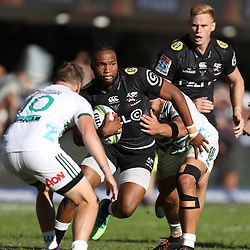 DURBAN, SOUTH AFRICA - MAY 19: Lukhanyo Am of the Cell C Sharks on attack during the Super Rugby match between Cell C Sharks and Chiefs at Jonsson Kings Park on May 19, 2018 in Durban, South Africa. (Photo by Steve Haag/Gallo Images)