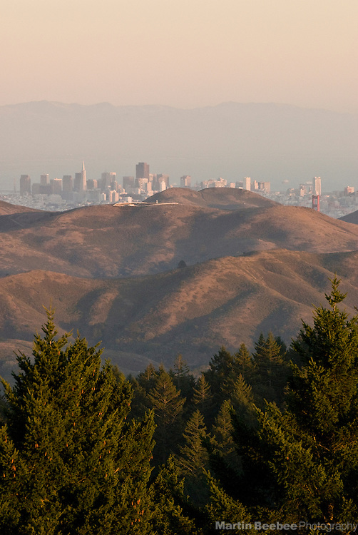The San Francisco skyline peaks over the Marin Headlands in Mount Tamalpais State Park, California