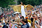 "De Canal Parade 2014 - een botenparade over de Amsterdamse grachten en het hoogtepunt van Gay Pride Amsterdam.<br /> <br /> The Canal Parade 2014 - a boat parade on the canals of Amsterdam and the highlight of Gay Pride Amsterdam.<br /> <br /> Op de foto / On the photo: De deelnemende ""Joodse"" Boot/ Participating  ""Jewish"" boat."