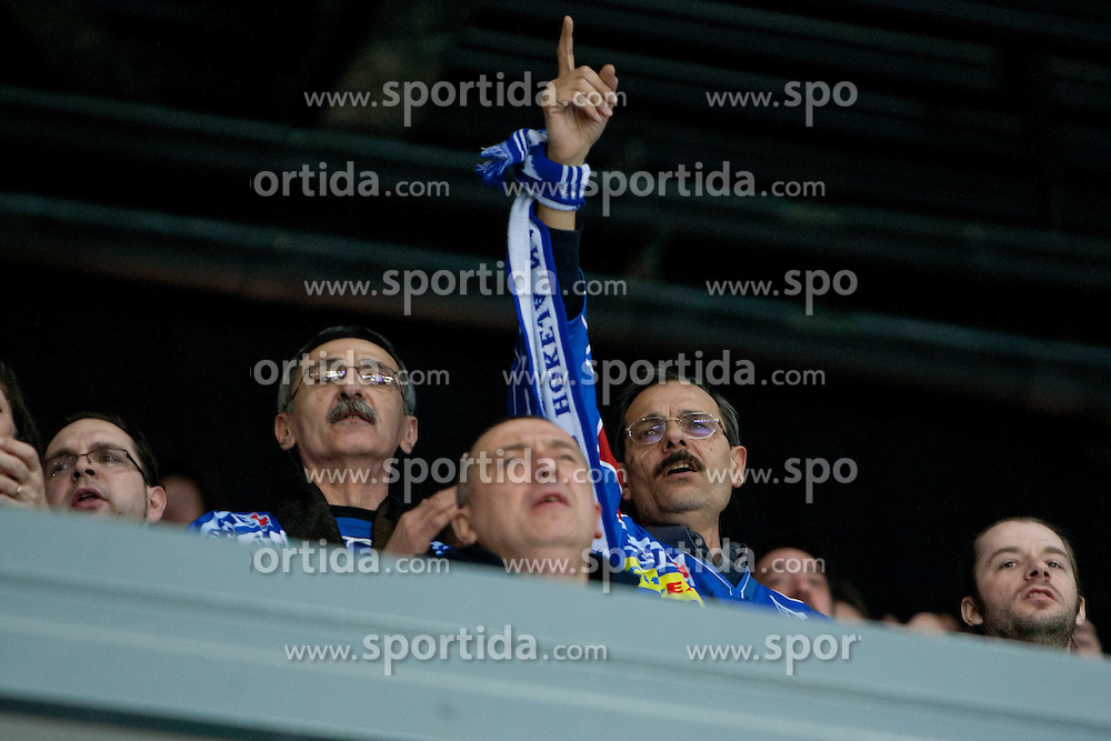 Fans during ice-hockey match between KHL Medvescak Zagreb and HDD Tilia Olimpija in 43rd Round of EBEL league, on Januar 17, 2012 at Arena Zagreb, Zagreb, Croatia. (Photo By Matic Klansek Velej / Sportida)