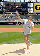"CHICAGO - JULY 06:  Actor Ryan McPartlin, star of the television series ""Chuck"", throws out a ceremonial first pitch prior to the game between the Chicago White Sox and Kansas City Royals on July 6, 2011 at U.S. Cellular Field in Chicago, Illinois.  The Royals defeated the White Sox 4-1.  (Photo by Ron Vesely/MLB Photos via Getty Images)  *** Local Caption *** Ryan McPartlin"