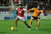 Rotherham United midfielder Grant Ward and Wolverhampton Wanderers midfielder Jack Price  during the Sky Bet Championship match between Rotherham United and Wolverhampton Wanderers at the New York Stadium, Rotherham, England on 5 December 2015. Photo by Ian Lyall.