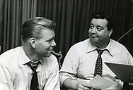 Jackie Gleason with Jack Lescoulie. Extensive print archive and contact sheets. With Tommy Dorsey, Dave Garroway, McGuire Sisters, Toots Shor, and more. <br /> For Cosmopolitan. Jack Lescoulie (November 17, 1912&mdash;July 22, 1987) was a radio and television announcer and host, notably on NBC's Today during the 1950s and 1960s;] Lescoulie was also known for his voice impersonation of comedian Jack Benny. He was a musician and had an orchestra. he was an announcer on Jackie Gleason's Cavalcade of Stars (1949&ndash;52).as well as the original network announcer for The Honeymooners (1955&ndash;56).