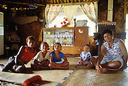 Family in Fiji bure