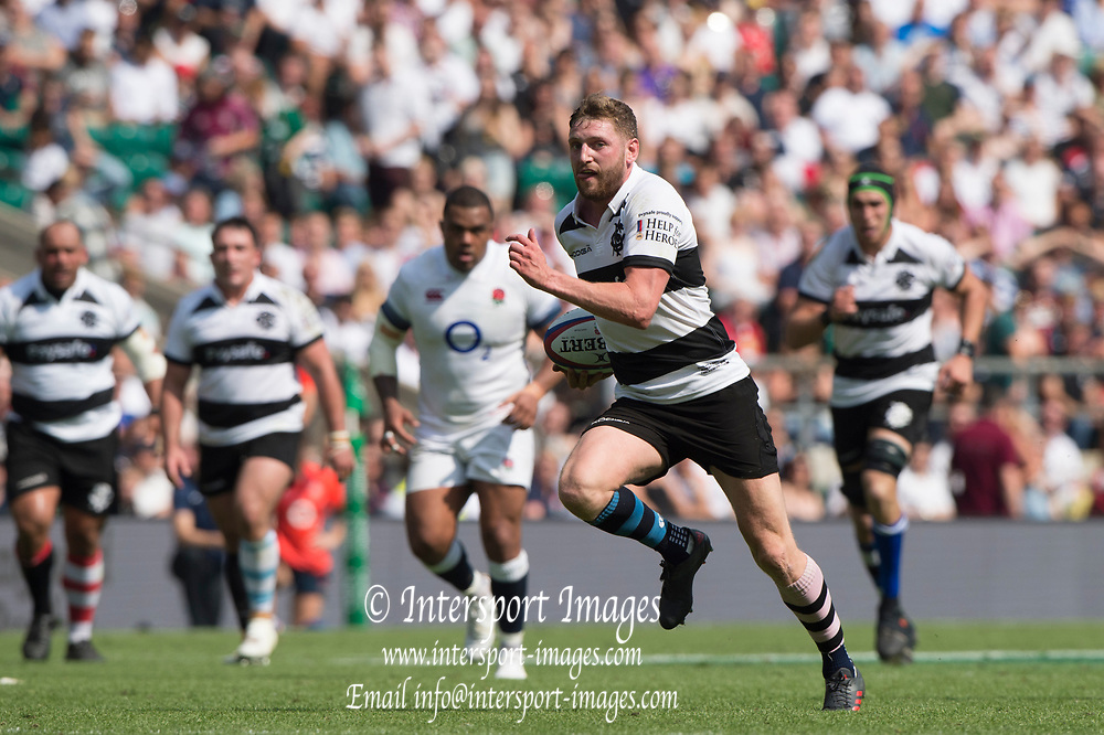 Twickenham, England, 27th May 2018. Quilter Cup, Rugby, Baa Baa's, Finn RUSSELL, attacking, during the England vs Barbarians, Rugby Match, at the RFU. Stadium, Twickenham. UK.  <br /> <br /> © Peter Spurrier/Alamy Live News