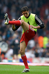 Liverpool, England - Sunday, October 7, 2007: Liverpool's Alvaro Arbeloa warms-up before the Premiership match against Tottenham Hotspur at Anfield. (Photo by David Rawcliffe/Propaganda)