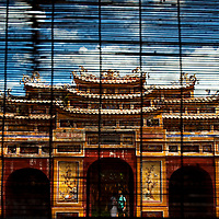 View of Hue's imperial palece from a window blind