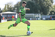Forest Green Rovers Liam Shephard(2) crosses the ball during the EFL Sky Bet League 2 match between Forest Green Rovers and Mansfield Town at the New Lawn, Forest Green, United Kingdom on 19 October 2019.