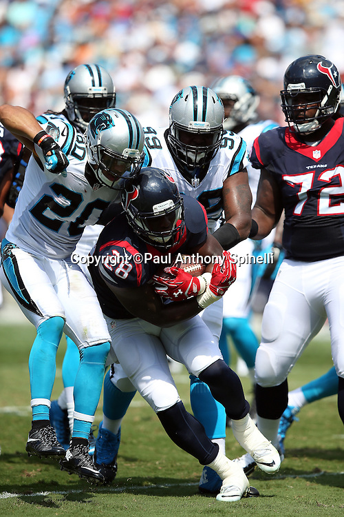 Houston Texans running back Alfred Blue (28) gets stuffed on a first quarter run by the Carolina Panthers defense during the 2015 NFL week 2 regular season football game against the Carolina Panthers on Sunday, Sept. 20, 2015 in Charlotte, N.C. The Panthers won the game 24-17. (©Paul Anthony Spinelli)