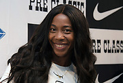 Shelly-Ann Fraser-Pryce (JAM) during a press conference prior to the 45th Prefontaine Classic, Saturday, June 29, 2019, in San Mateo, Calif.