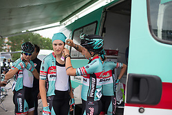 Giusfredi Bianchi Cycling Team riders prepare for Stage 1 of the Emakumeen Bira - a 50 km road race, starting and finishing in Iurreta on May 16, 2017, in Basque Country, Spain.