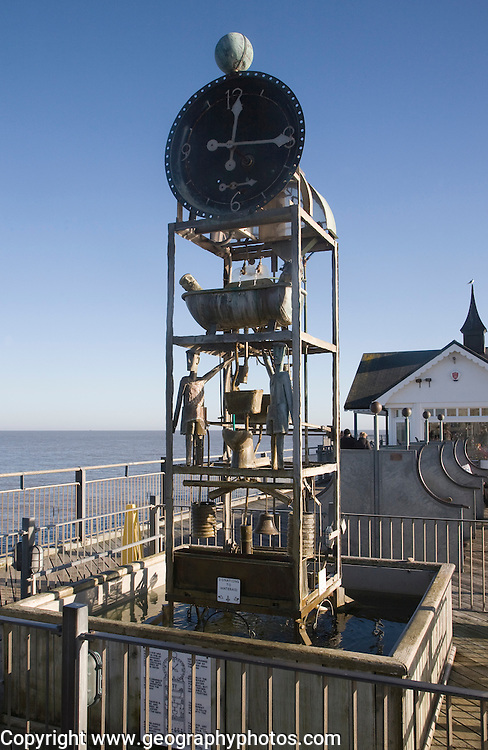 Quirky water clock on the pier at Southwold, Suffolk, England designed by Tim Hunkin.