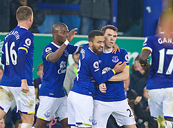LIVERPOOL, ENGLAND - Tuesday, December 13, 2016: Everton's Seamus Coleman celebrates scoring the first equalising goal against Arsenal during the FA Premier League match at Goodison Park. (Pic by David Rawcliffe/Propaganda)