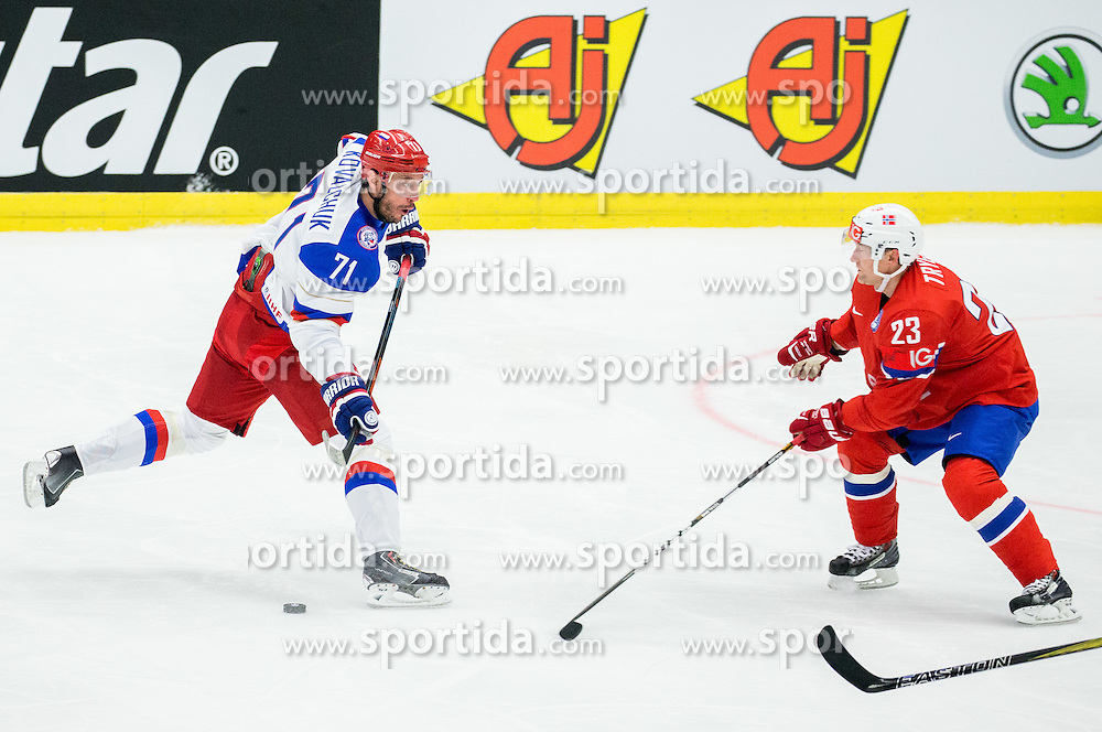 Ilya Kovalchuk of Russia vs Mats Trygg of Norway during Ice Hockey match between Russia and Norway at Day 1 in Group B of 2015 IIHF World Championship, on May 1, 2015 in CEZ Arena, Ostrava, Czech Republic. Photo by Vid Ponikvar / Sportida