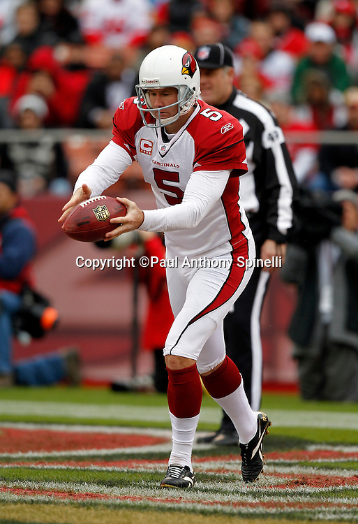 Arizona Cardinals punter Ben Graham (5) punts during the NFL week 17 football game against the San Francisco 49ers on Sunday, January 2, 2011 in San Francisco, California. The 49ers won the game 38-7. (©Paul Anthony Spinelli)