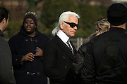 Karl Lagerfeld with crew during a shoot on Fulton Landing, Brooklyn, NY on March 24, 2008