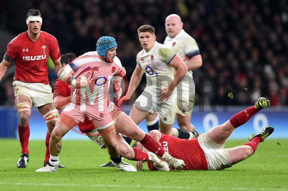 Jack Nowell of England takes on the Wales defence - Mandatory byline: Patrick Khachfe/JMP - 07966 386802 - 10/02/2018 - RUGBY UNION - Twickenham Stadium - London, England - England v Wales - Natwest Six Nations