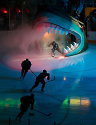October 8, 2009; San Jose, CA, USA; The San Jose Sharks enter the ice before the game against the Columbus Blue Jackets at HP Pavilion.