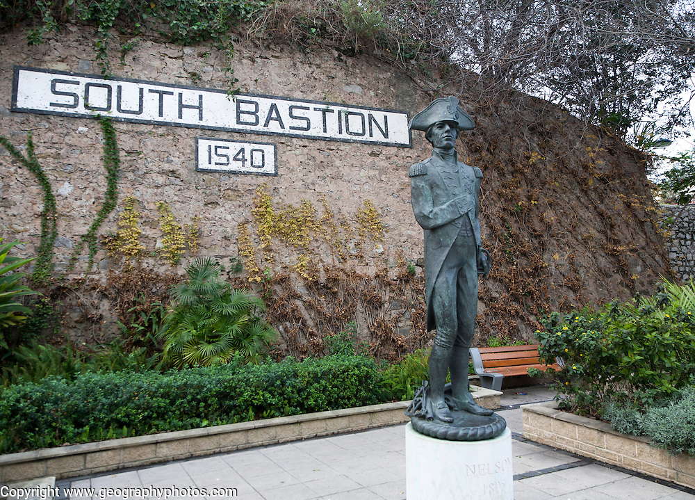 Statue of Admiral Lord Nelson at South Bastion, Gibraltar, British terroritory in southern Europe