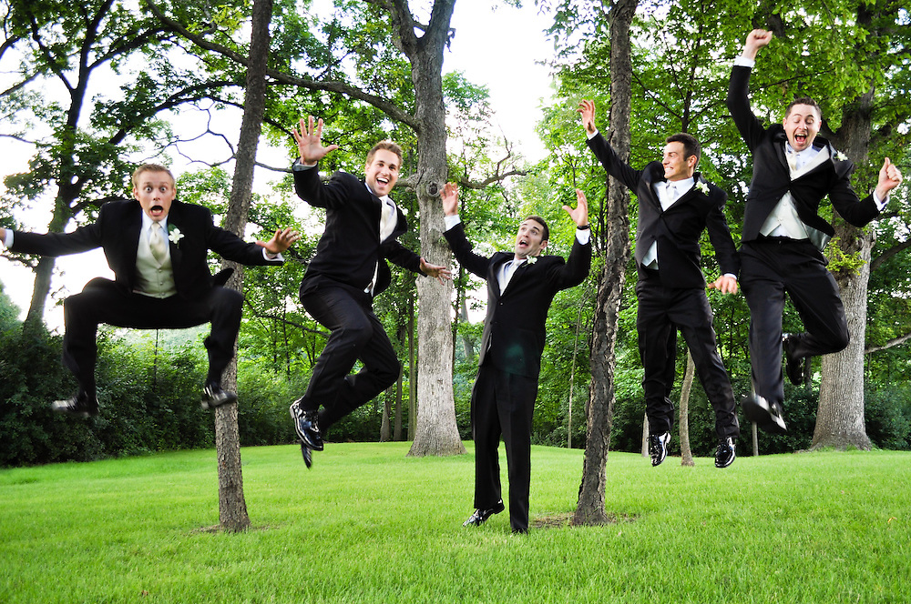 Alan & his groomsmen jump for joy at St. Charles Country Club, St. Charles, IL